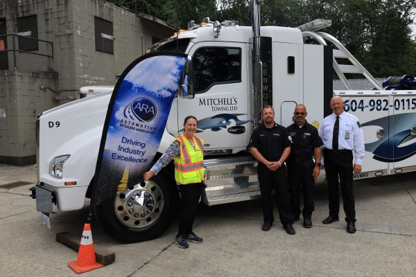 MLA Susie Chant; Mitchell Martin of Mitchell's Towing; Chris Logan of Roadway Towing; and WreckMaster lead instructor Bruce Campbell at WreckMaster training level 8/9R in North Vancouver, August 19, 2021